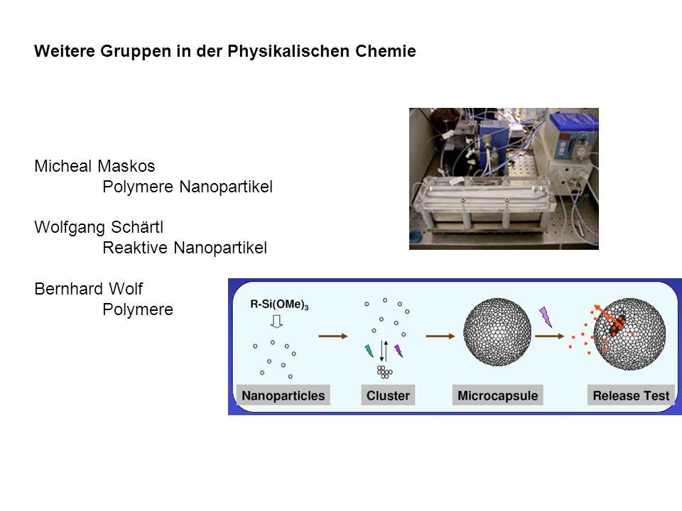 Weitere Gruppen in der Physikalischen Chemie Micheal Maskos Polymere Nanopartikel Wolfgang Schärtl Reaktive Nanopartikel Bernhard Wolf Polymere