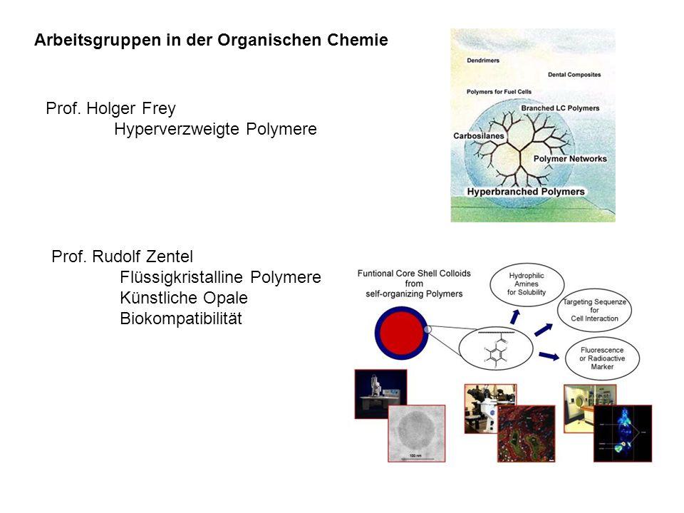 Arbeitsgruppen in der Organischen Chemie Prof. Holger Frey Hyperverzweigte Polymere Prof. Rudolf Zentel Flüssigkristalline Polymere Künstliche Opale B