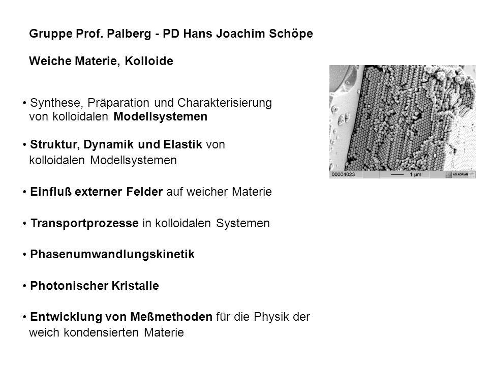 Gruppe Prof. Palberg - PD Hans Joachim Schöpe Weiche Materie, Kolloide Synthese, Präparation und Charakterisierung von kolloidalen Modellsystemen Stru