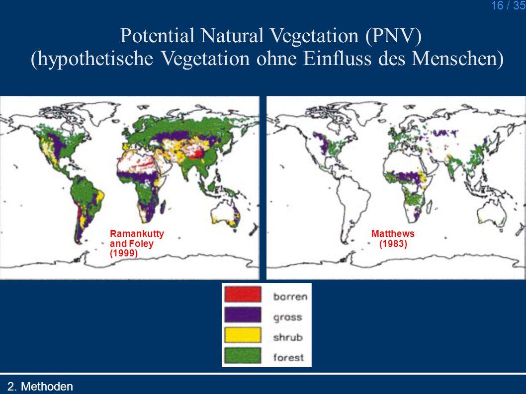 16 / 35 Ramankutty and Foley (1999) Matthews (1983) Potential Natural Vegetation (PNV) (hypothetische Vegetation ohne Einfluss des Menschen) 2. Method