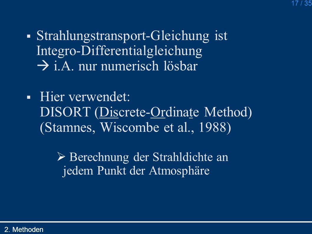 17 / 35 Strahlungstransport-Gleichung ist Integro-Differentialgleichung i.A. nur numerisch lösbar Hier verwendet: DISORT (Discrete-Ordinate Method) (S