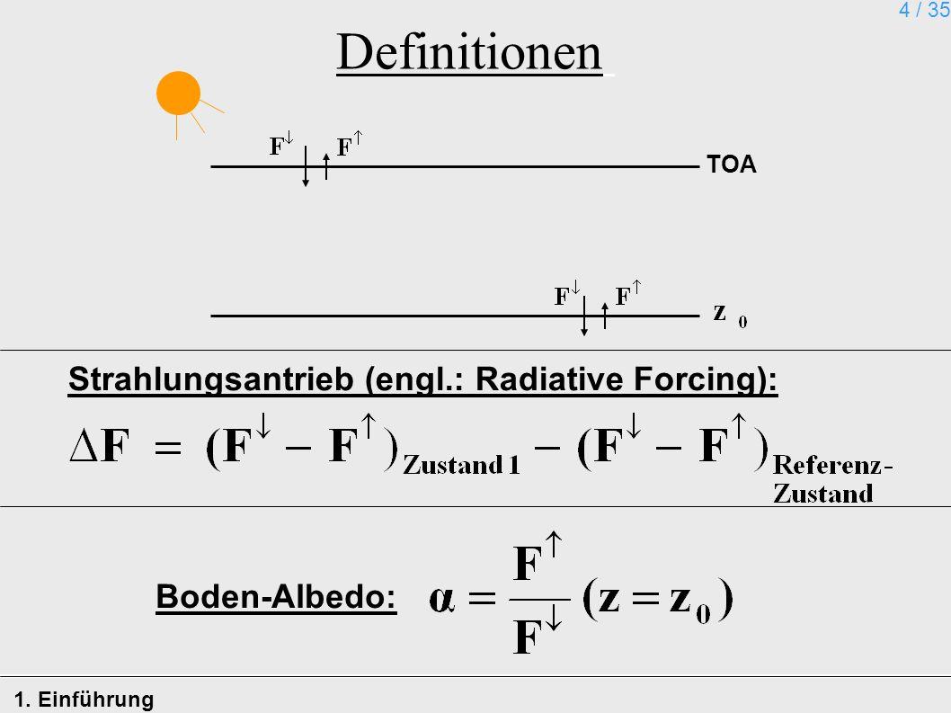 4 / 35 Definitionen 1. Einführung TOA Strahlungsantrieb (engl.: Radiative Forcing): Boden-Albedo: