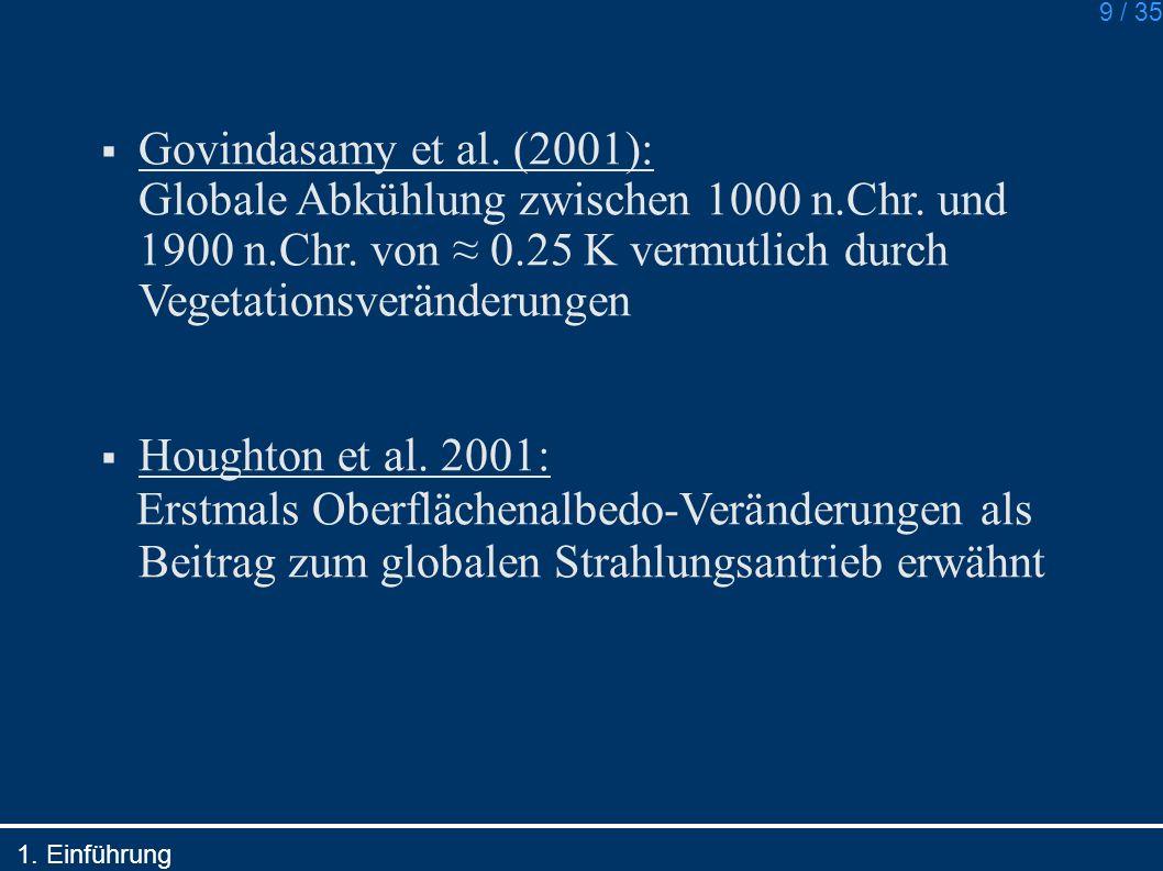 9 / 35 Govindasamy et al. (2001): Globale Abkühlung zwischen 1000 n.Chr. und 1900 n.Chr. von 0.25 K vermutlich durch Vegetationsveränderungen Houghton