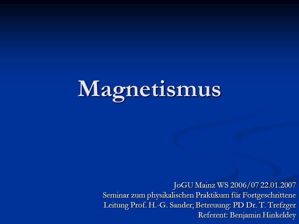 Magnetismus JoGU Mainz WS 2006/07 22.01.2007 Seminar zum physikalischen Praktikum für Fortgeschrittene Leitung Prof. H.-G. Sander; Betreuung: PD Dr. T