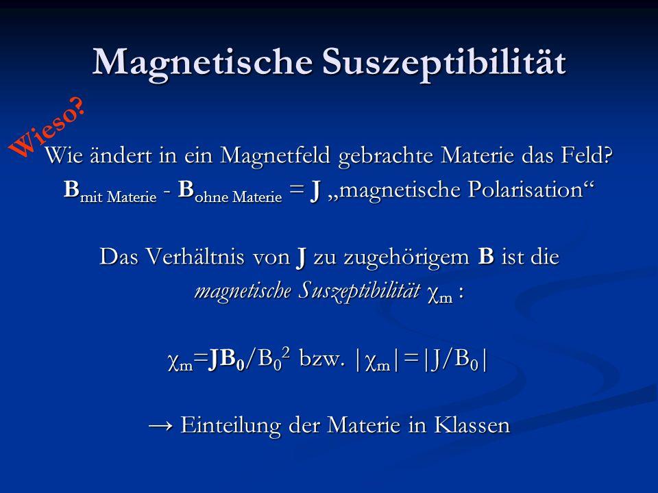 Magnetische Suszeptibilität Wie ändert in ein Magnetfeld gebrachte Materie das Feld? B mit Materie - B ohne Materie = J magnetische Polarisation Das V