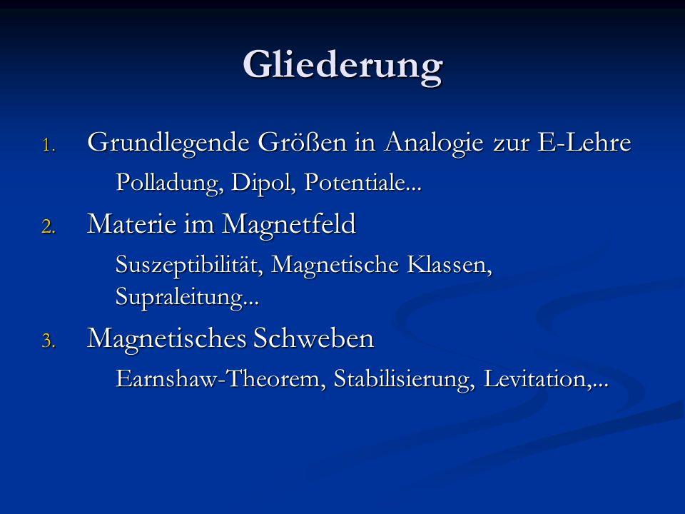 Gliederung 1. Grundlegende Größen in Analogie zur E-Lehre Polladung, Dipol, Potentiale... 2. Materie im Magnetfeld Suszeptibilität, Magnetische Klasse