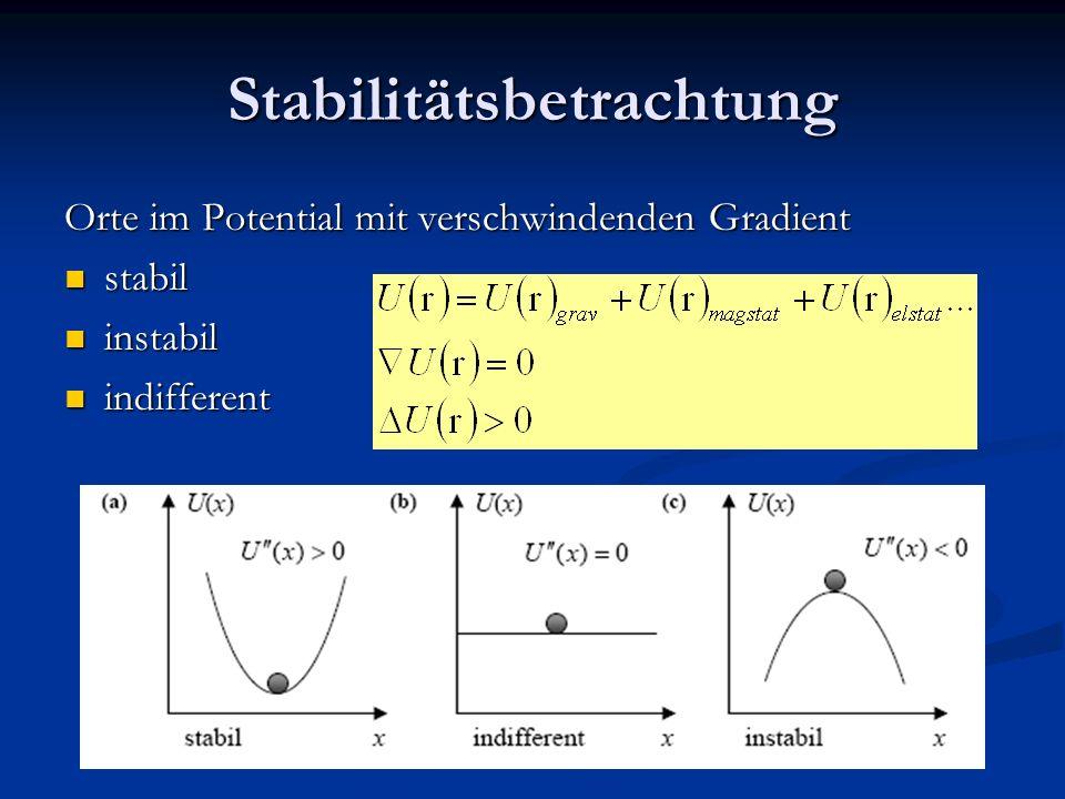 Stabilitätsbetrachtung Orte im Potential mit verschwindenden Gradient stabil stabil instabil instabil indifferent indifferent