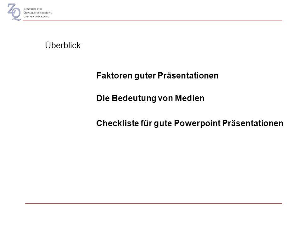 Überblick: Die Bedeutung von Medien Checkliste für gute Powerpoint Präsentationen Faktoren guter Präsentationen