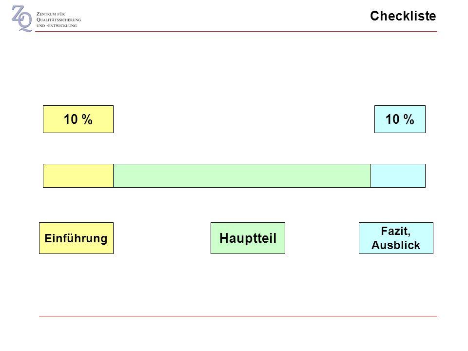 Checkliste Einführung Fazit, Ausblick Hauptteil 10 %