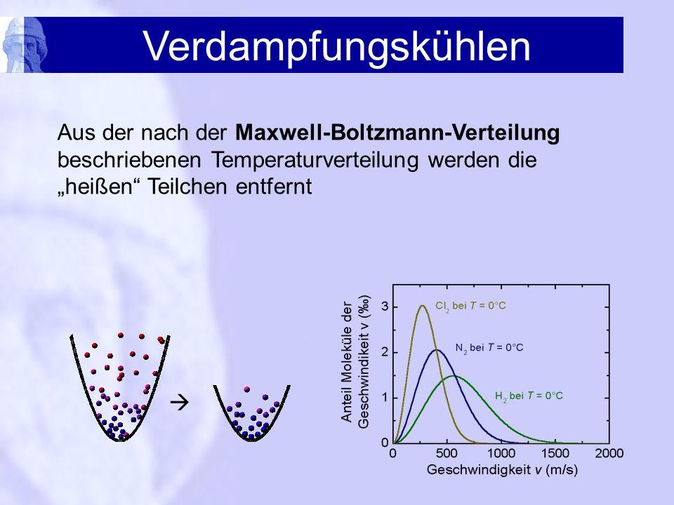 Verdampfungskühlen Aus der nach der Maxwell-Boltzmann-Verteilung beschriebenen Temperaturverteilung werden die heißen Teilchen entfernt