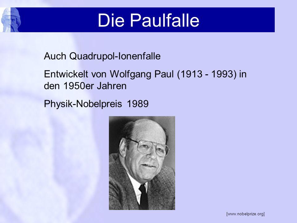 Die Paulfalle Auch Quadrupol-Ionenfalle Entwickelt von Wolfgang Paul (1913 - 1993) in den 1950er Jahren Physik-Nobelpreis 1989 [www.nobelprize.org]