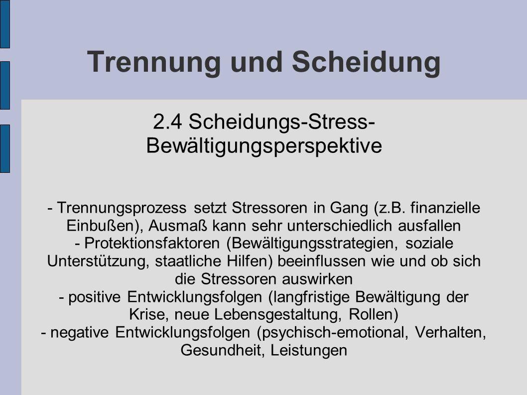 Trennung und Scheidung 2.4 Scheidungs-Stress- Bewältigungsperspektive - Trennungsprozess setzt Stressoren in Gang (z.B. finanzielle Einbußen), Ausmaß