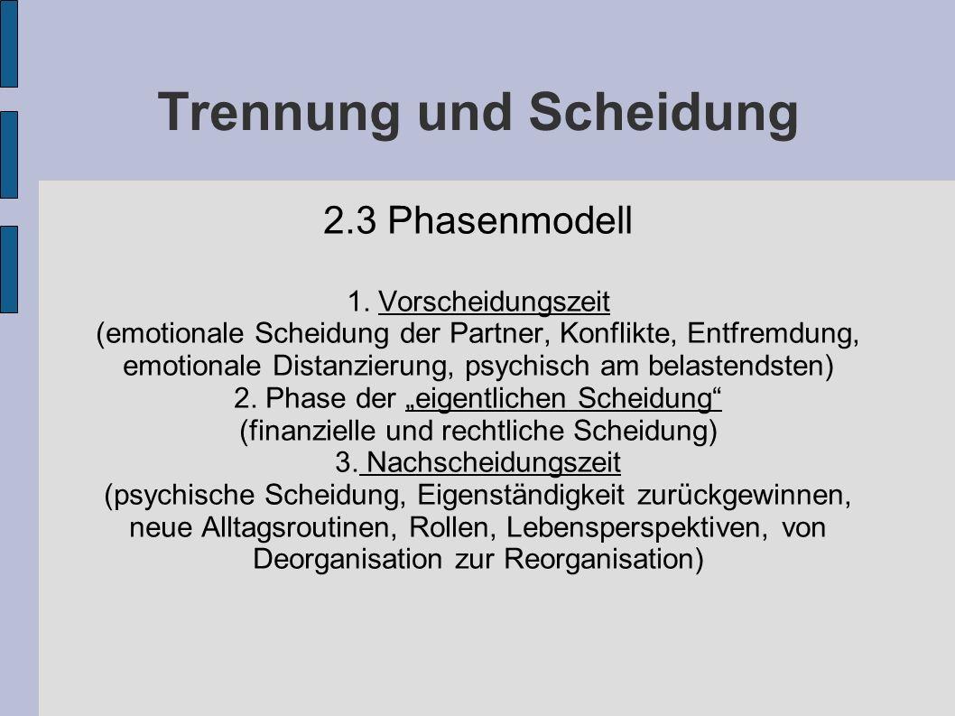 Trennung und Scheidung 2.3 Phasenmodell 1. Vorscheidungszeit (emotionale Scheidung der Partner, Konflikte, Entfremdung, emotionale Distanzierung, psyc