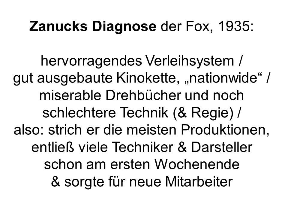 Zanucks Diagnose der Fox, 1935: hervorragendes Verleihsystem / gut ausgebaute Kinokette, nationwide / miserable Drehbücher und noch schlechtere Technik (& Regie) / also: strich er die meisten Produktionen, entließ viele Techniker & Darsteller schon am ersten Wochenende & sorgte für neue Mitarbeiter