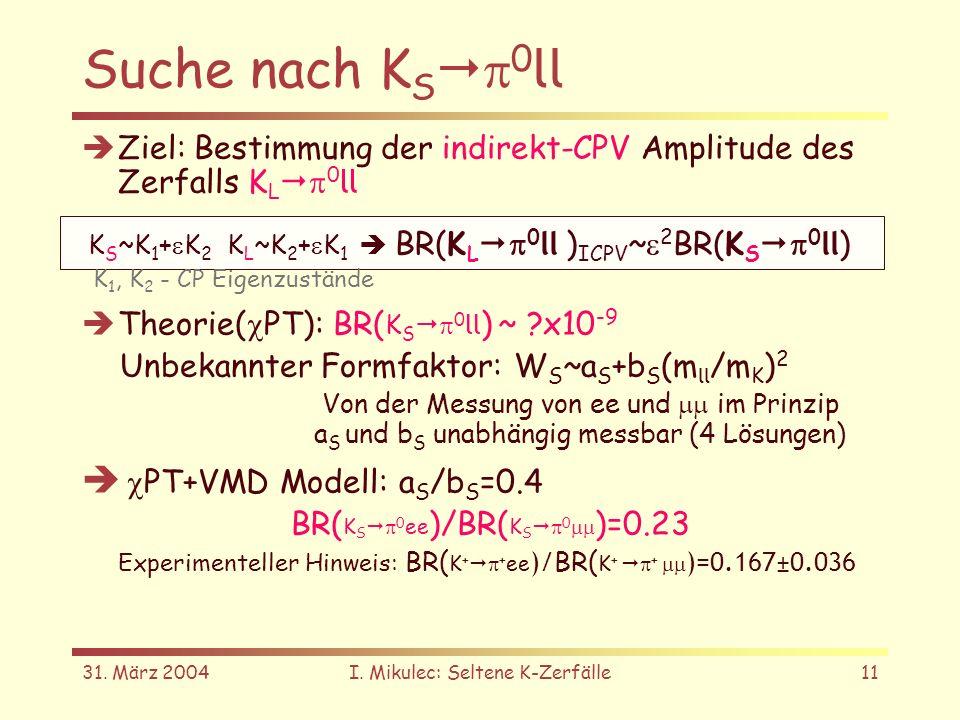 31. März 2004I. Mikulec: Seltene K-Zerfälle11 Suche nach K S 0 ll Ziel: Bestimmung der indirekt-CPV Amplitude des Zerfalls K L 0 ll Theorie( PT): BR(