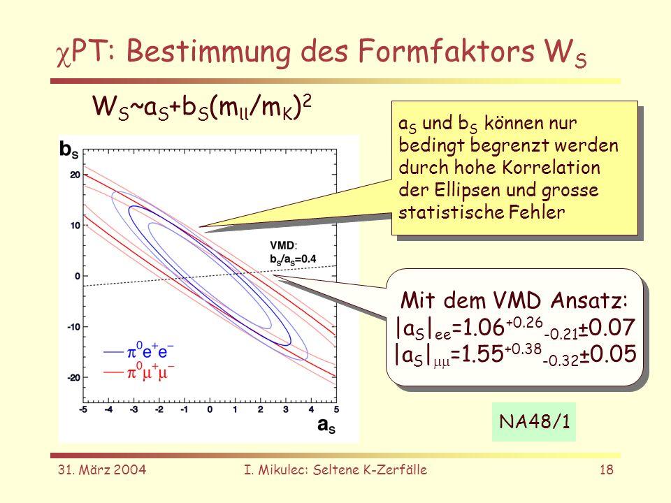 31. März 2004I. Mikulec: Seltene K-Zerfälle18 PT: Bestimmung des Formfaktors W S W S ~a S +b S (m ll /m K ) 2 a S und b S können nur bedingt begrenzt