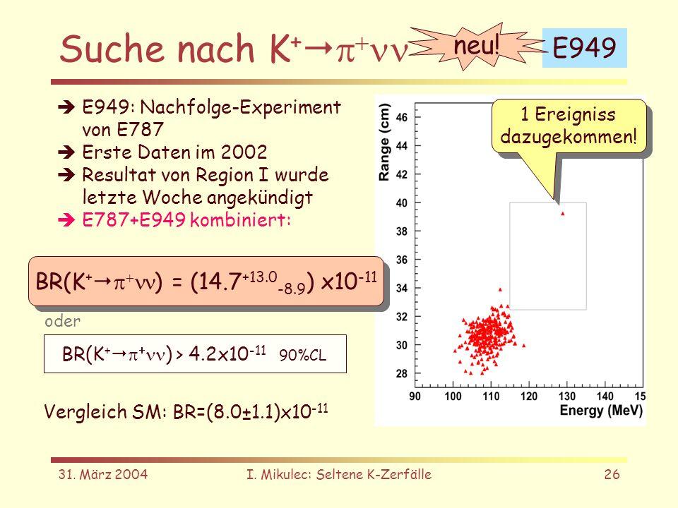 31. März 2004I. Mikulec: Seltene K-Zerfälle26 Suche nach K + E949 1 Ereigniss dazugekommen! 1 Ereigniss dazugekommen! neu! E949: Nachfolge-Experiment