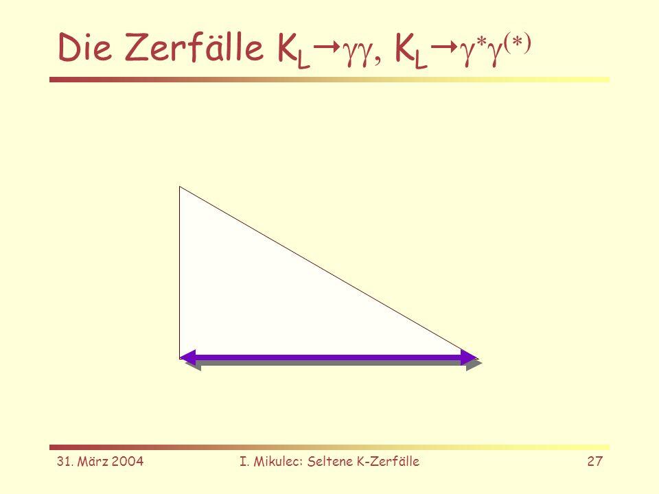 31. März 2004I. Mikulec: Seltene K-Zerfälle27 Die Zerfälle K L K L