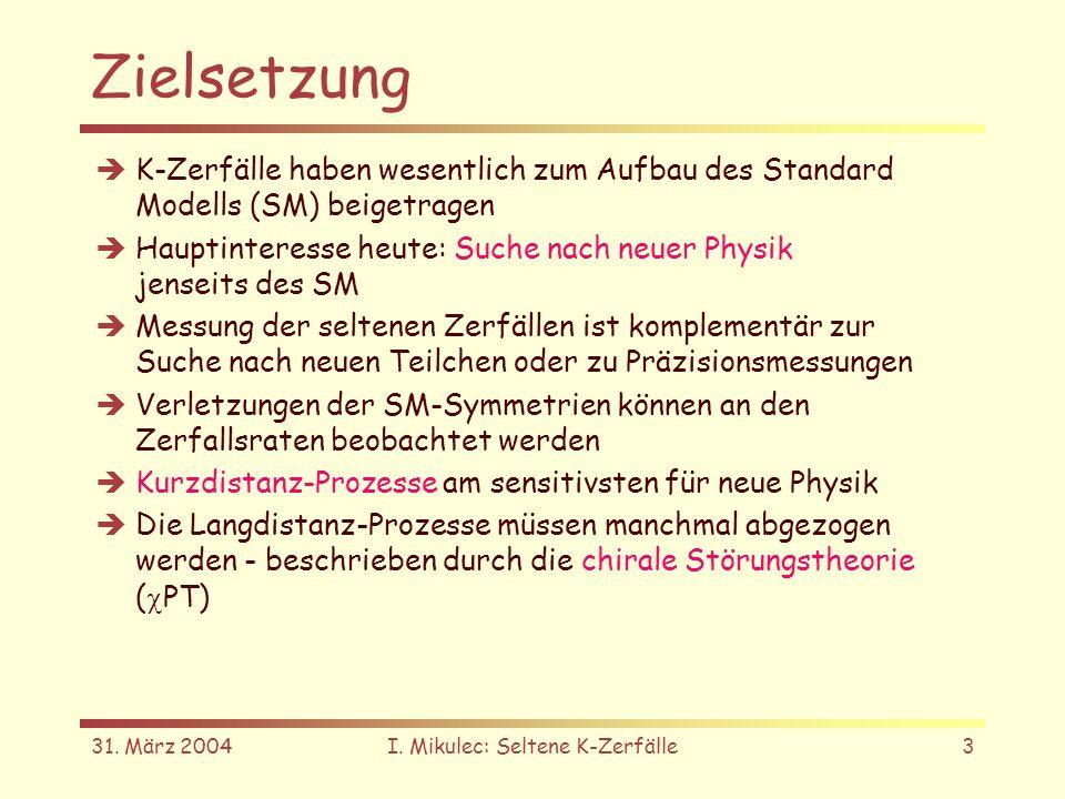 31. März 2004I. Mikulec: Seltene K-Zerfälle3 Zielsetzung K-Zerfälle haben wesentlich zum Aufbau des Standard Modells (SM) beigetragen Hauptinteresse h