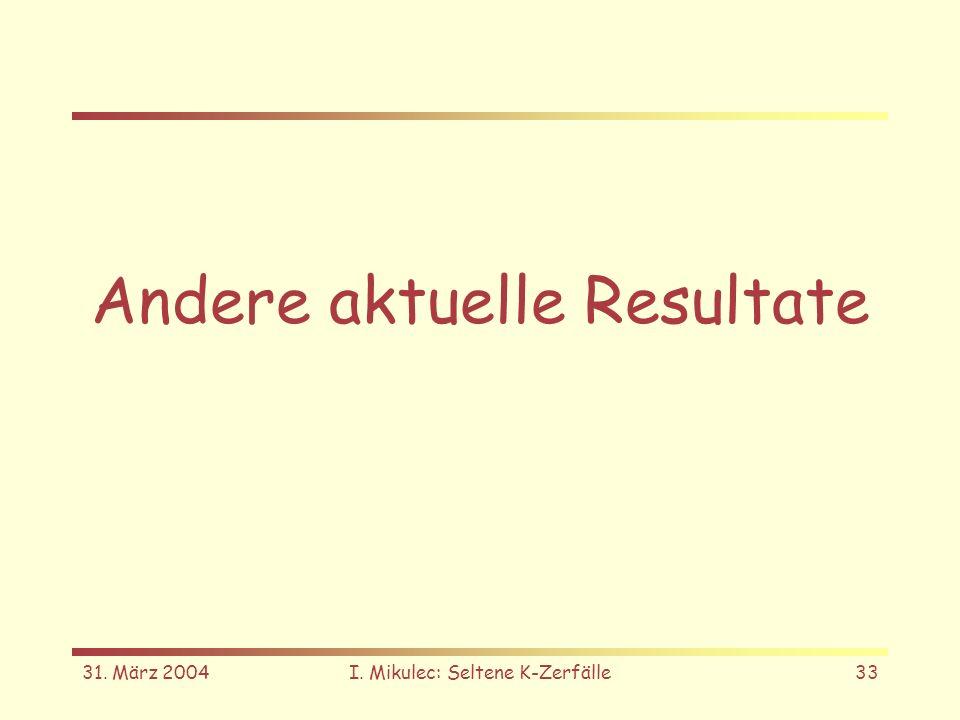 31. März 2004I. Mikulec: Seltene K-Zerfälle33 Andere aktuelle Resultate