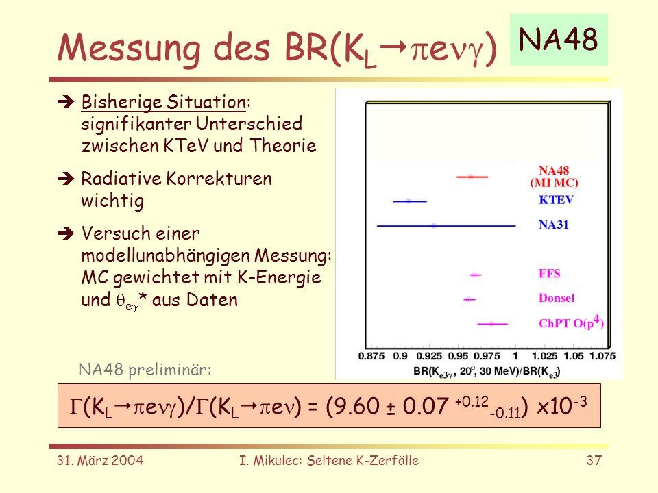 31. März 2004I. Mikulec: Seltene K-Zerfälle37 Messung des BR(K L e ) NA48 Bisherige Situation: signifikanter Unterschied zwischen KTeV und Theorie Rad