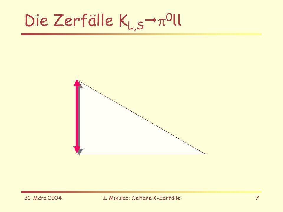 31. März 2004I. Mikulec: Seltene K-Zerfälle7 Die Zerfälle K L,S 0 ll
