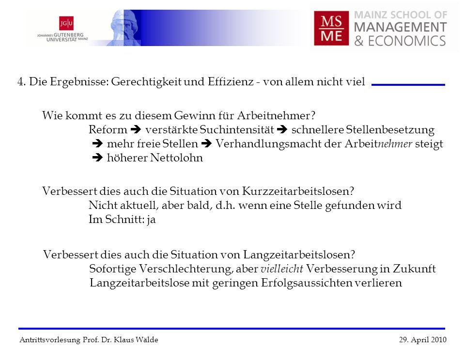 Antrittsvorlesung Prof. Dr. Klaus Wälde 29. April 2010 4. Die Ergebnisse: Gerechtigkeit und Effizienz - von allem nicht viel Verbessert dies auch die