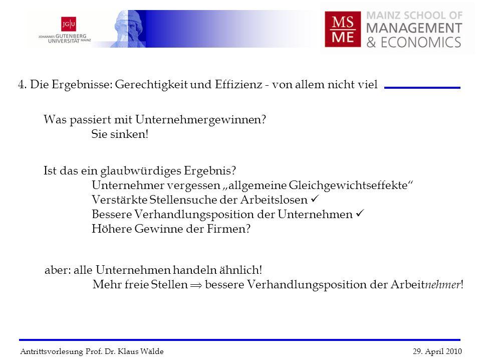 Antrittsvorlesung Prof. Dr. Klaus Wälde 29. April 2010 4. Die Ergebnisse: Gerechtigkeit und Effizienz - von allem nicht viel Ist das ein glaubwürdiges