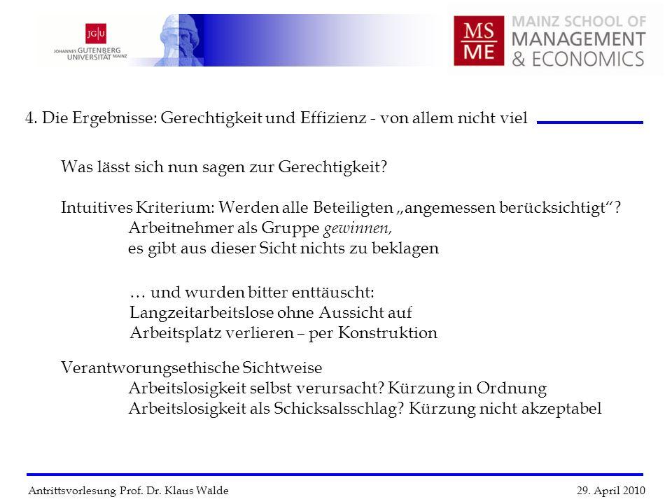Antrittsvorlesung Prof. Dr. Klaus Wälde 29. April 2010 4. Die Ergebnisse: Gerechtigkeit und Effizienz - von allem nicht viel … und wurden bitter enttä