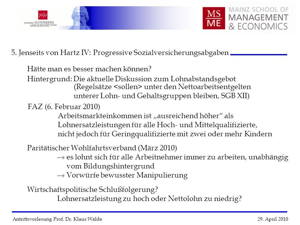 Antrittsvorlesung Prof. Dr. Klaus Wälde 29. April 2010 5. Jenseits von Hartz IV: Progressive Sozialversicherungsabgaben FAZ (6. Februar 2010) Arbeitsm