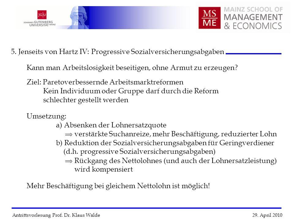Antrittsvorlesung Prof. Dr. Klaus Wälde 29. April 2010 5. Jenseits von Hartz IV: Progressive Sozialversicherungsabgaben Kann man Arbeitslosigkeit bese