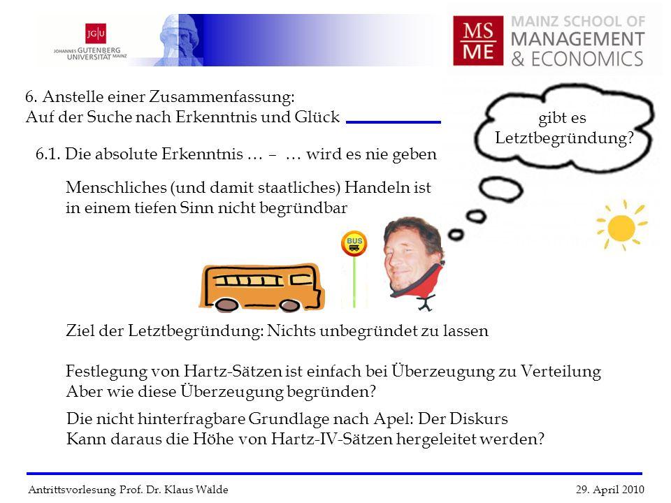 Antrittsvorlesung Prof. Dr. Klaus Wälde 29. April 2010 6. Anstelle einer Zusammenfassung: Auf der Suche nach Erkenntnis und Glück 6.1. Die absolute Er