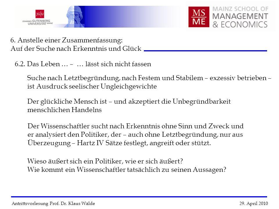 Antrittsvorlesung Prof. Dr. Klaus Wälde 29. April 2010 6. Anstelle einer Zusammenfassung: Auf der Suche nach Erkenntnis und Glück 6.2. Das Leben … Suc