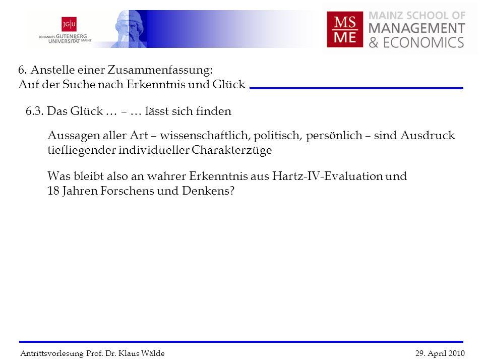 Antrittsvorlesung Prof. Dr. Klaus Wälde 29. April 2010 6. Anstelle einer Zusammenfassung: Auf der Suche nach Erkenntnis und Glück 6.3. Das Glück … Aus