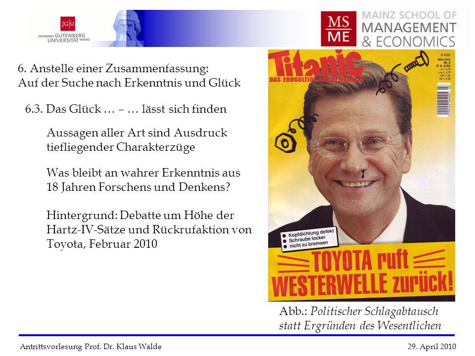 Antrittsvorlesung Prof. Dr. Klaus Wälde 29. April 2010 6. Anstelle einer Zusammenfassung: Auf der Suche nach Erkenntnis und Glück 6.3. Das Glück … – …