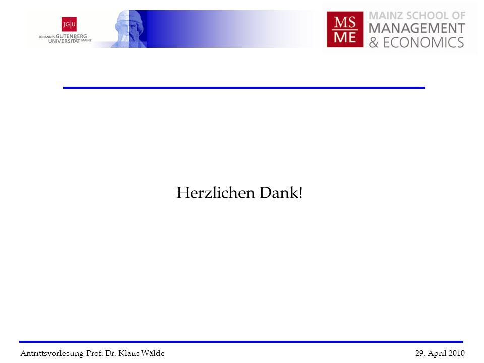 Antrittsvorlesung Prof. Dr. Klaus Wälde 29. April 2010 Herzlichen Dank!