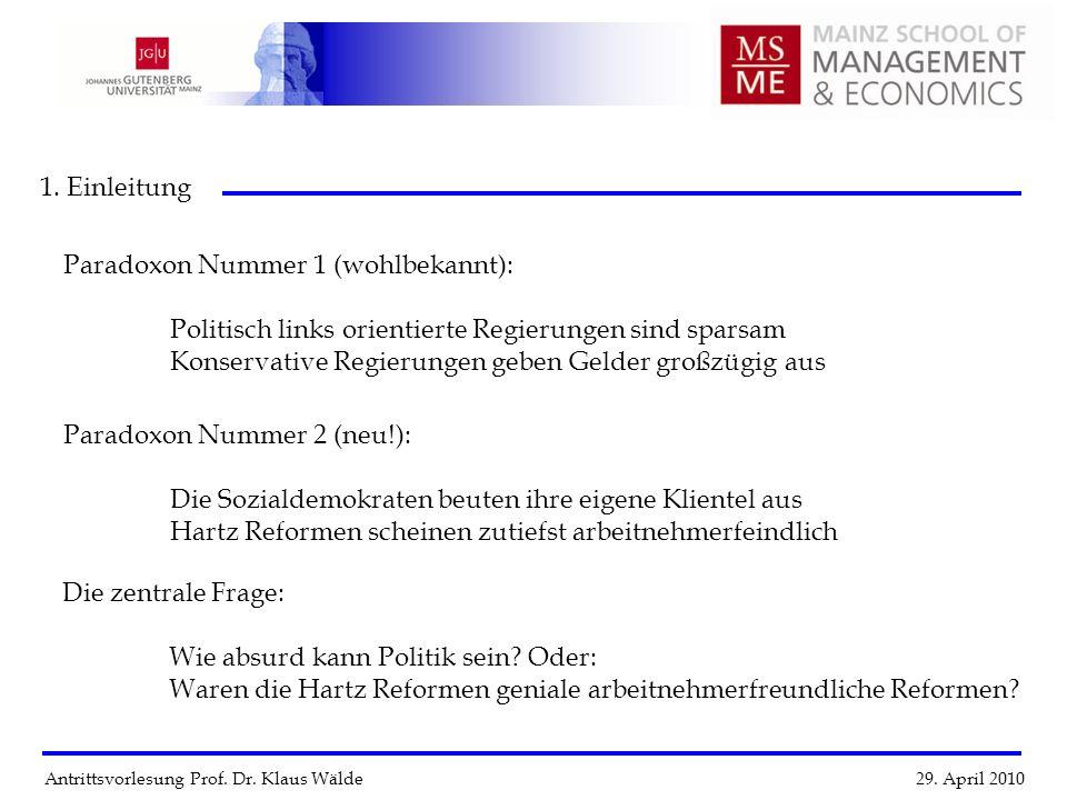 Antrittsvorlesung Prof. Dr. Klaus Wälde 29. April 2010 1. Einleitung Paradoxon Nummer 1 (wohlbekannt): Politisch links orientierte Regierungen sind sp