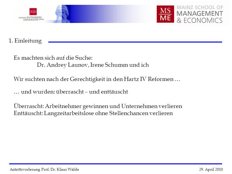 Antrittsvorlesung Prof. Dr. Klaus Wälde 29. April 2010 1. Einleitung Es machten sich auf die Suche: Dr. Andrey Launov, Irene Schumm und ich Wir suchte