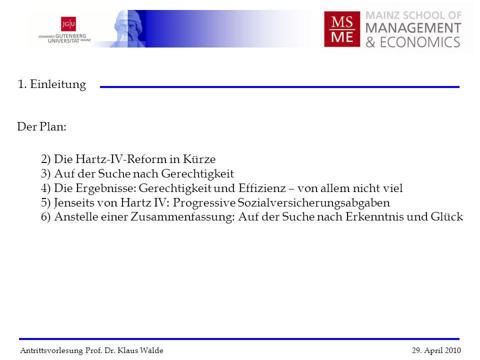 Antrittsvorlesung Prof. Dr. Klaus Wälde 29. April 2010 1. Einleitung 2) Die Hartz-IV-Reform in Kürze 3) Auf der Suche nach Gerechtigkeit 4) Die Ergebn