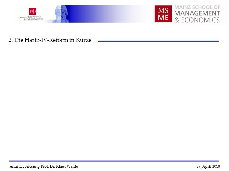 Antrittsvorlesung Prof. Dr. Klaus Wälde 29. April 2010 2. Die Hartz-IV-Reform in Kürze