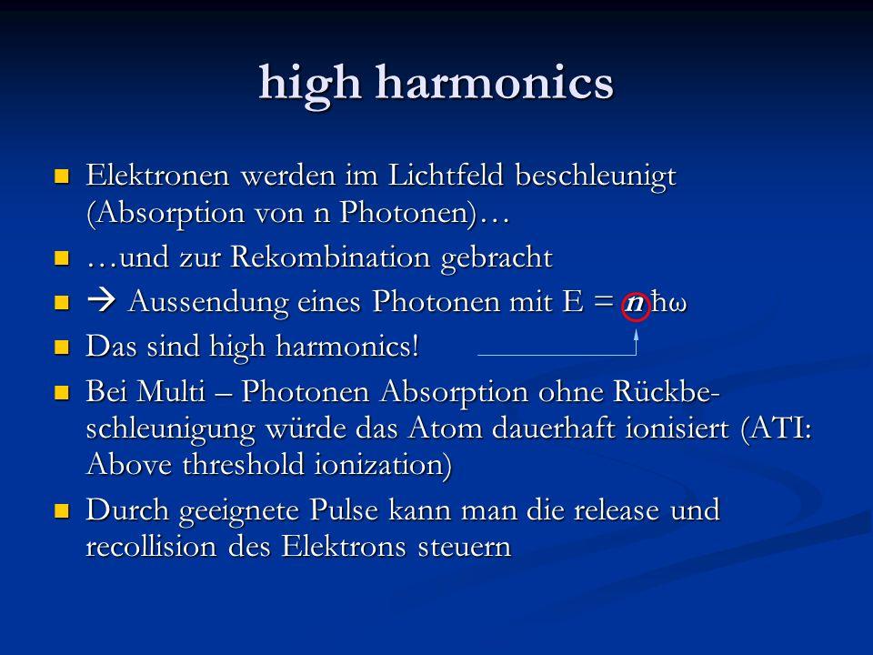 high harmonics Elektronen werden im Lichtfeld beschleunigt (Absorption von n Photonen)… Elektronen werden im Lichtfeld beschleunigt (Absorption von n