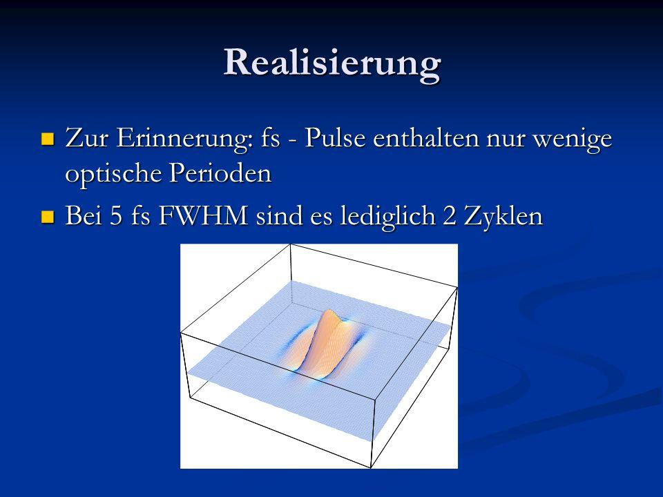 Realisierung Zur Erinnerung: fs - Pulse enthalten nur wenige optische Perioden Zur Erinnerung: fs - Pulse enthalten nur wenige optische Perioden Bei 5