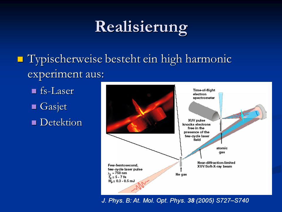 Realisierung Typischerweise besteht ein high harmonic experiment aus: Typischerweise besteht ein high harmonic experiment aus: fs-Laser fs-Laser Gasje