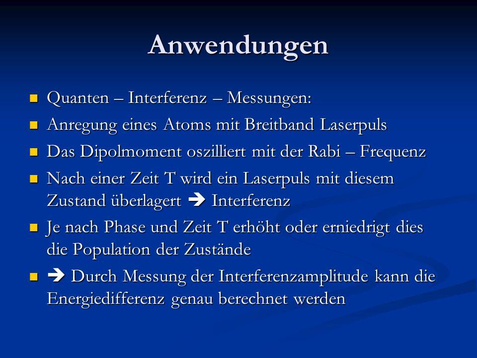 Anwendungen Quanten – Interferenz – Messungen: Quanten – Interferenz – Messungen: Anregung eines Atoms mit Breitband Laserpuls Anregung eines Atoms mi