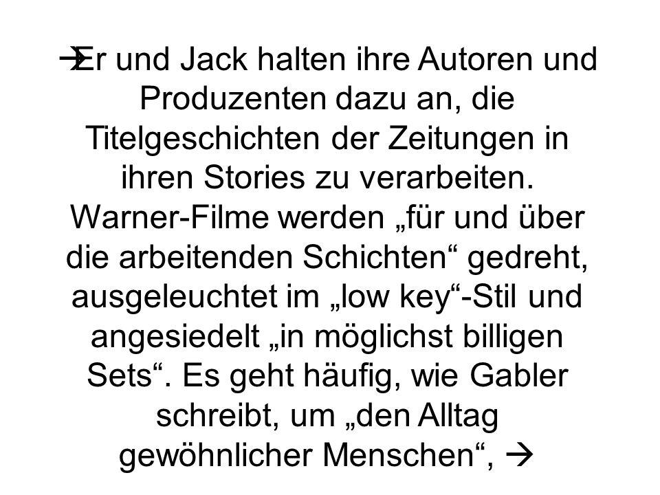 Er und Jack halten ihre Autoren und Produzenten dazu an, die Titelgeschichten der Zeitungen in ihren Stories zu verarbeiten.