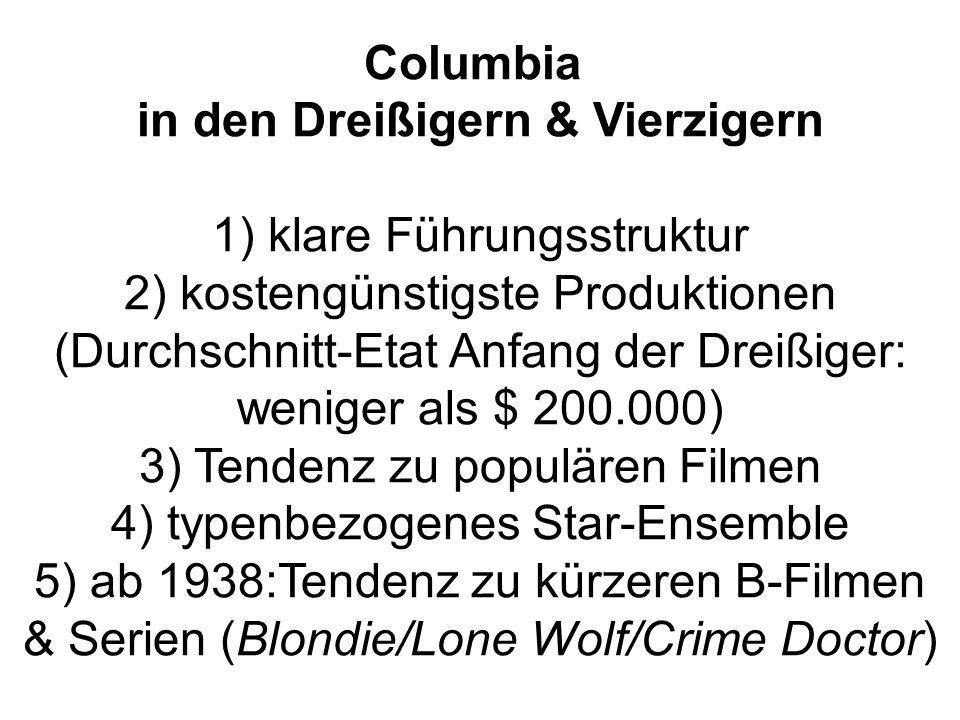 Columbia in den Dreißigern & Vierzigern 1) klare Führungsstruktur 2) kostengünstigste Produktionen (Durchschnitt-Etat Anfang der Dreißiger: weniger al