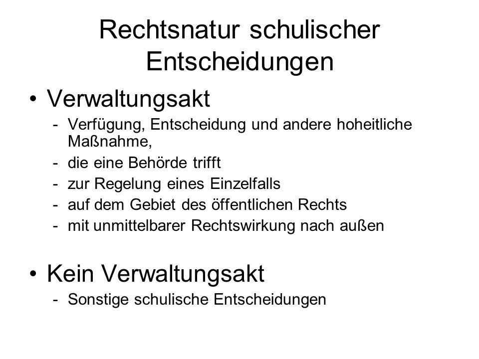 Rechtsnatur schulischer Entscheidungen - Beispiele Verwaltungsakt -Ordnungsmaßnahmen gemäß Art.