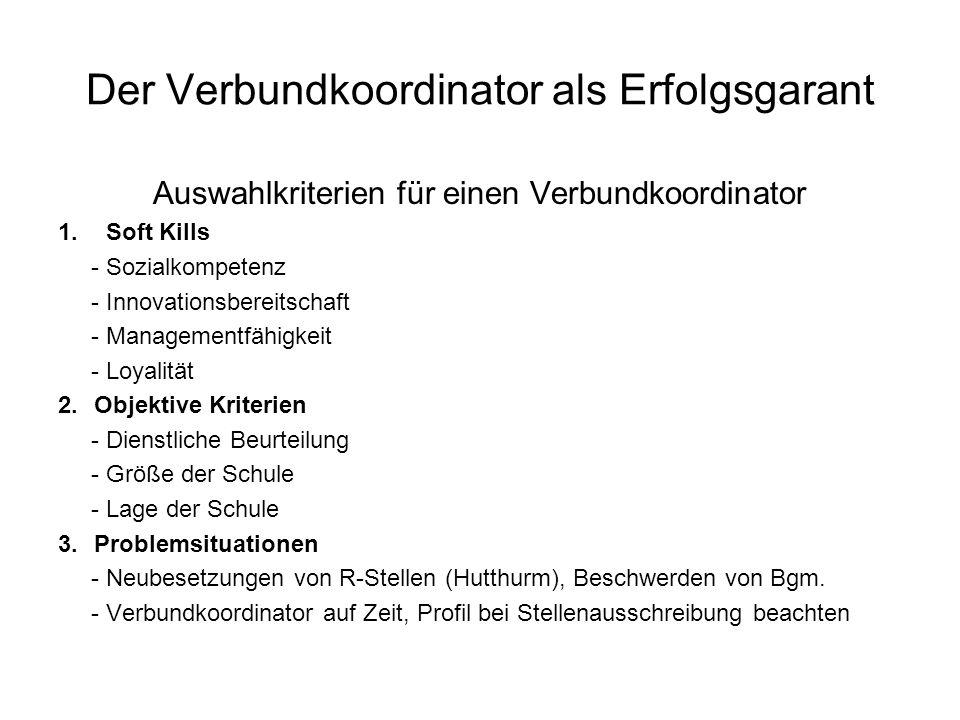 Der Verbundkoordinator als Erfolgsgarant Auswahlkriterien für einen Verbundkoordinator 1.Soft Kills - Sozialkompetenz - Innovationsbereitschaft - Mana