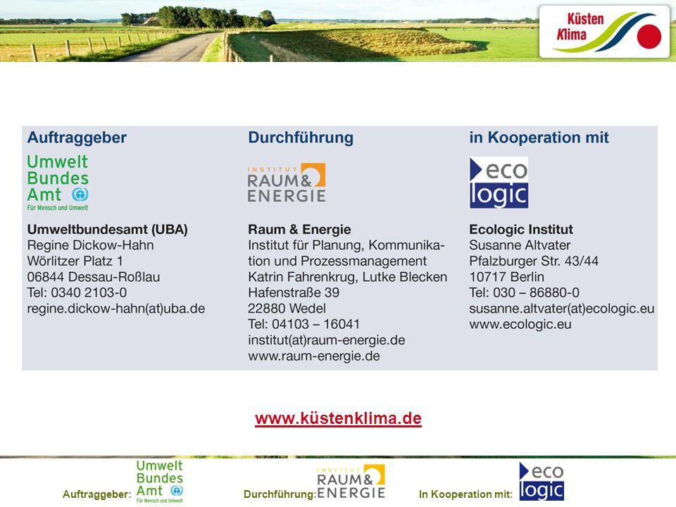 Auftraggeber:Durchführung:In Kooperation mit: www.küstenklima.de