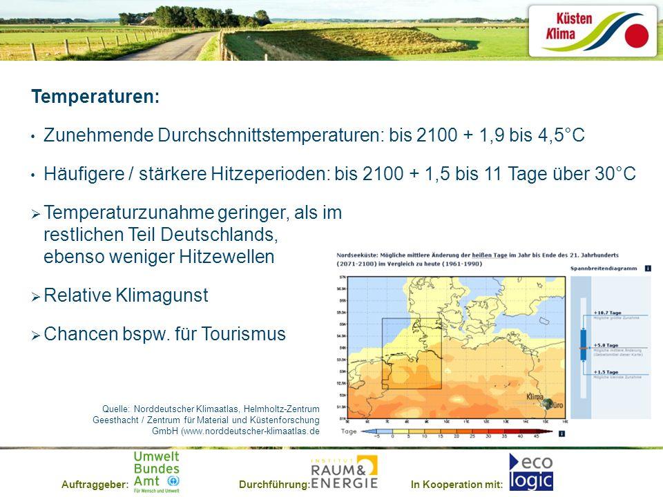 Auftraggeber:Durchführung:In Kooperation mit: Temperaturen: Zunehmende Durchschnittstemperaturen: bis 2100 + 1,9 bis 4,5°C Häufigere / stärkere Hitzeperioden: bis 2100 + 1,5 bis 11 Tage über 30°C Temperaturzunahme geringer, als im restlichen Teil Deutschlands, ebenso weniger Hitzewellen Relative Klimagunst Chancen bspw.